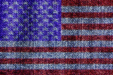 USA flag on blue jeans texture surface background photo