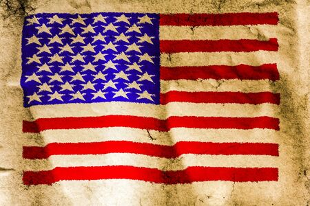 USA flag painted on old brown paper surface background photo
