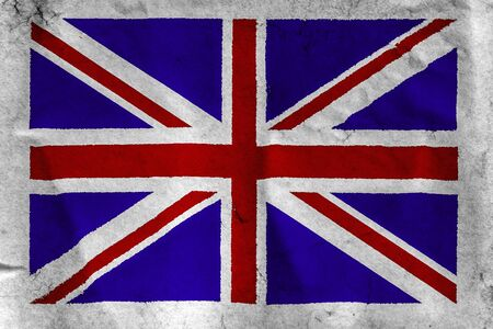 UK Flag on rough white paper surface texture background photo