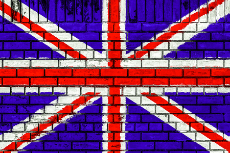 UK flag on brick wall seamless surface background texture photo