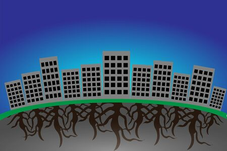 preserve: Buildings with tree roots preserve environment