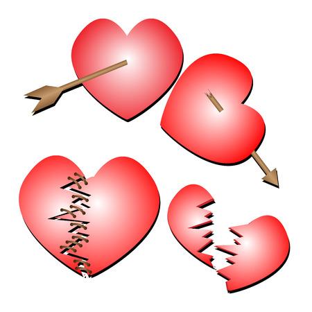 heartbreak: Set of red heartbreak vector illustration