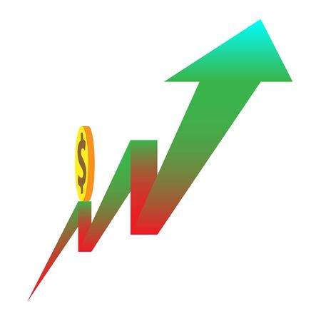 grow money: Rolling up money on arrow vector illustration