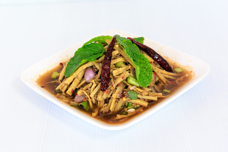 Thai traditional cuisine food bamboo shoot salad Banque d'images