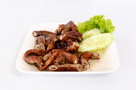 chitterlings: grilled pork chitterlings on white dish