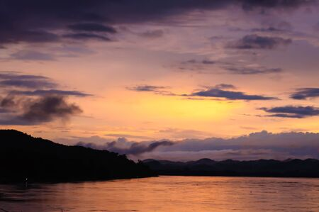 Scenic of twilight time at river with colorful sky