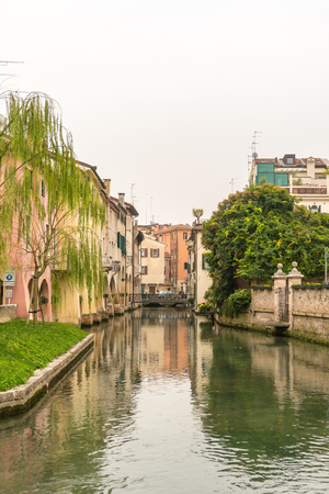 Scenic of treviso town Italy with calnal scene