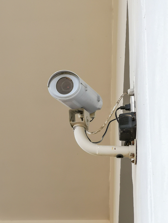 cctv security video camera on wall for protection