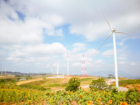 Electricity wind turbines field for generate alternative power with blue sky Banque d'images