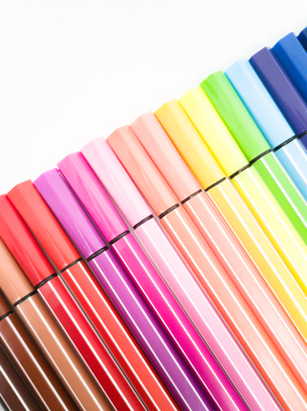 Set of colorful marker paint pen isolated against white background Banque d'images