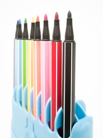 Set of colorful marker paint pen isolated against white background 写真素材