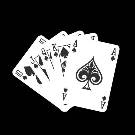 royal flush: Royal flush spade detailed illustration