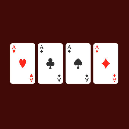 four of a kind: Four aces playing cards, four of a kind, poker winning combination.