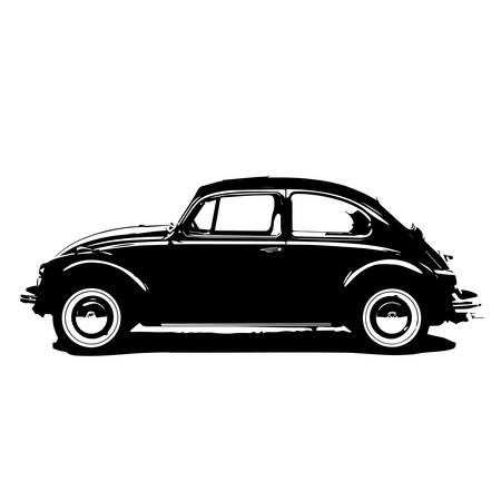 transportation silhouette: beetle car vector