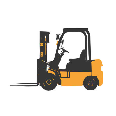 yellow forklift loader truck vector