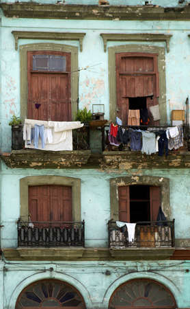 colourful laundry hanging from balcony