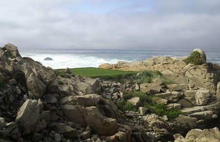 Pebble beach golfbaan tee off  Stockfoto