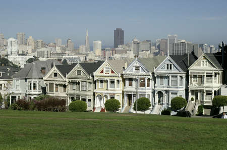 the famous painted lady homes on san francisco street Stock Photo