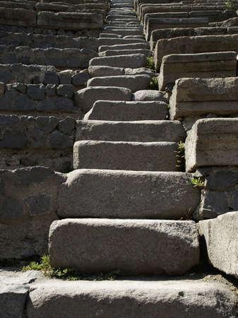 ancient steps of roman theatre in pompeii Stock Photo