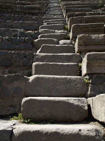 ancient steps of roman theatre in pompeii Stock Photo
