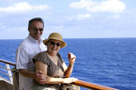 happy attractive senior couple on cruiseship Stock Photo