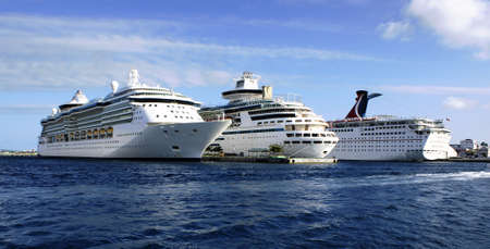 cruise ships lined up in port
