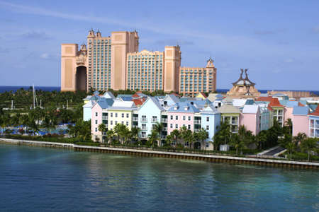 stunning atlantis resort in background of nassau harbour