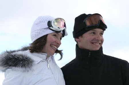 happy couple at winter wedding