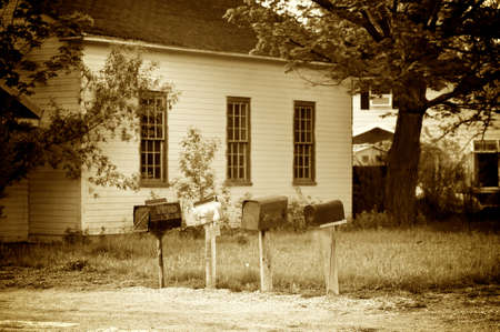 Old time mail boxes Stock Photo