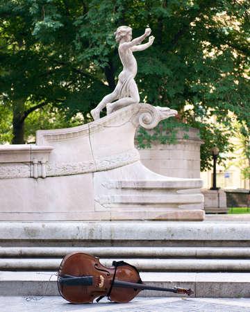central park statue and cello Stock Photo