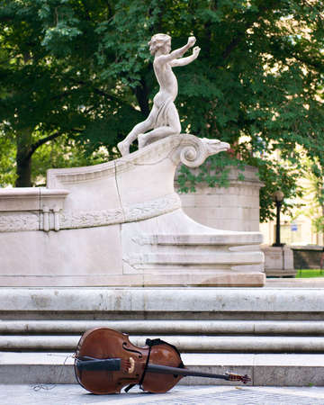 central park statue and cello Stock Photo