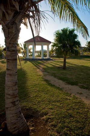 path to gazebo in tropical resort