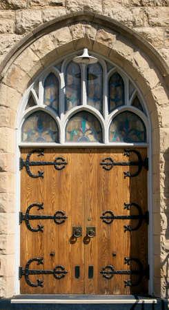 wooden door of old church