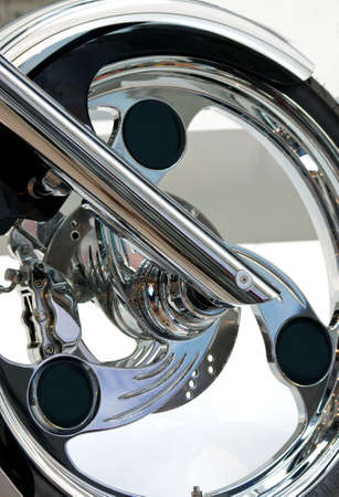front wheel of custom motorcycle Stock Photo