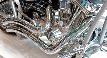 custom motorcycle pipes and engine detail Stock Photo