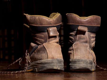 worn: old worn boots