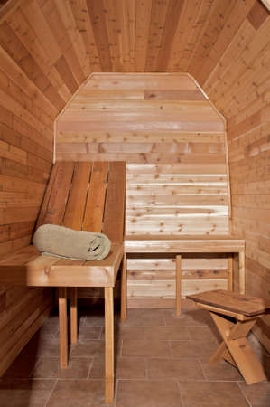 custom built: small custom built cedar sauna in home Stock Photo