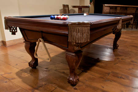 pool table in home entertainment area Stock Photo