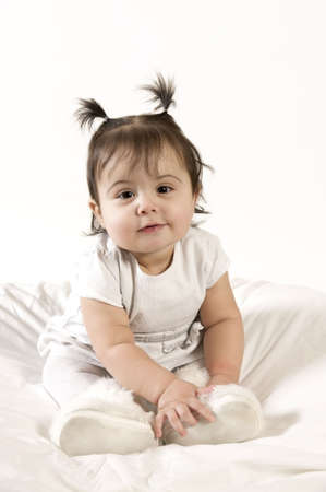adorable baby girl in white dress Stock Photo - 4827959