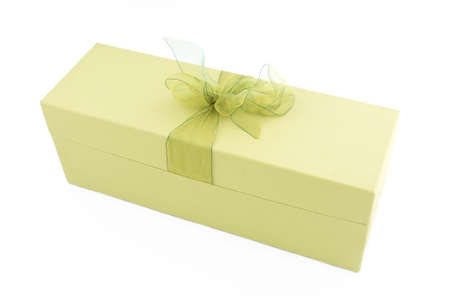 pale green gift box with ribbon
