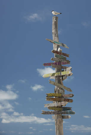 post: wooden sign post with directions and mileage