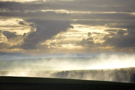 south downs: Clouds and mist over South Downs, UK