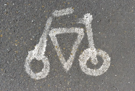 road bike: Bike icon painted on road surface Stock Photo
