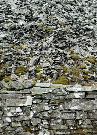Mossy dry stone wall, Lake District, UK Standard-Bild