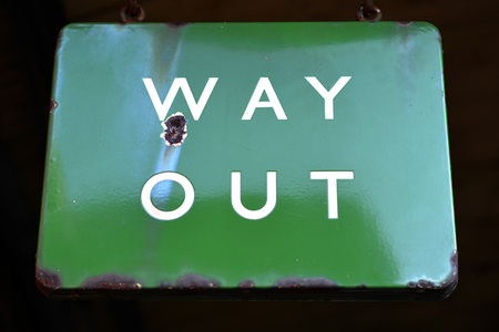 way out: Old green way out sign from stream era