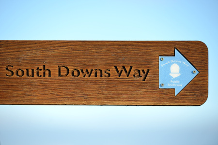 rambling: South Downs way footpath signs, East Sussex Stock Photo