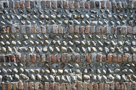 flint: old brick and flint cobble wall, Sussex