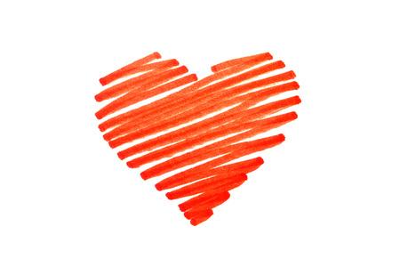 heart symbol: Scribbled pen red love heart, valentines symbol