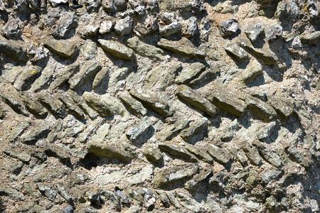 norman castle: Norman herringbone wall made from roman bricks, Pevensey Castle