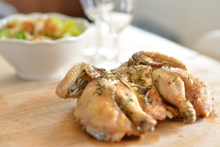 boned: Cooked spatchcock (butterfly) chicken with herbs